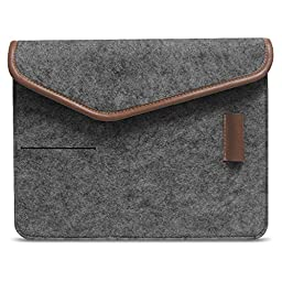 ACECOAT Felt 9.7 Inch iPad Pro Bag Portable Tablet Sleeve Case Pouch Cover Bag For iPad Air / Air 2 / Air 3 / iPad 1 / 2 / 3 / 4 / 9 - 9.7 Inch Tablet Computers With Pockets - Dark Gray