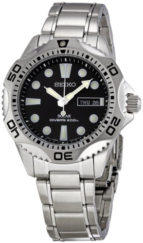 Seiko Men's SNE107 Silver Stainless-Steel Quartz Watch with Black Dial