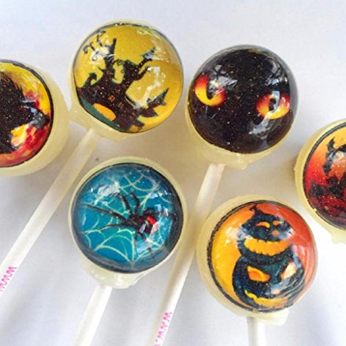 Vintage Confections Halloween Scary Scenes Edible Arty Candy Lollipops - 6 Assorted Flavor - Great for gift bags, treats, decorations, and novelty