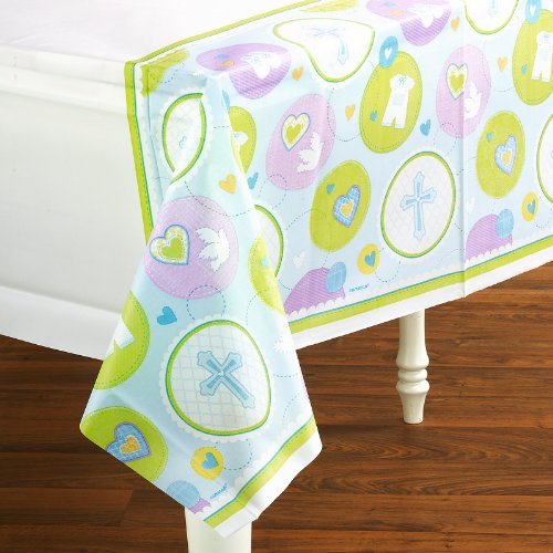 Amscan - Sweet Blessing Blue Tablecover - 1