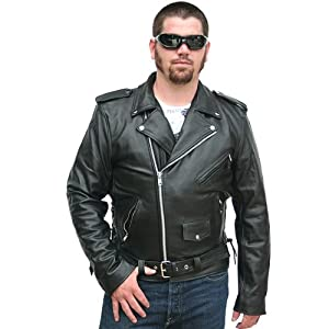 Motorcycle Jackets - Mens Classic Leather Motorcycle Jacket MJ400