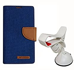 Aart Fancy Wallet Dairy Jeans Flip Case Cover for Apple4G (Black) + Mobile Holder Mount Bracket Holder Stand 360 Degree Rotating (WHITE) by Aart Store