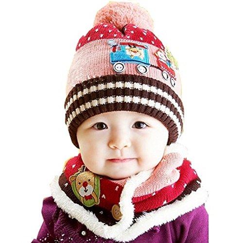 【Eanas】 キュートでぽかぽか ベビー 防寒 マフラー & ニット帽子 可愛い ベビー ボンボン付 帽子 スカーフ ニット フード 電車 イラスト アップリケ (ピンク, フリー)