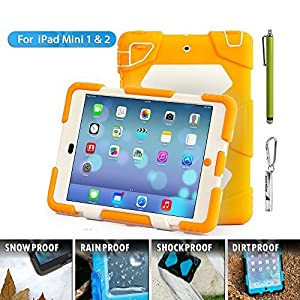 Ipad mini case,ACEGUARDER®ipad mini 2 case,ipad mini 3 case *Slim Military-Duty* Case for Rainproof Shock proof Anti-Dirt Drop Resistance Case with Back Clip for Apple Ipad mini 2/3 (Orange-White) from ACEGUARDER