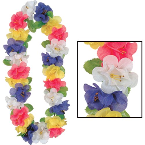 Silk 'N Petals Jumbo Flower Lei (multi-color) Party Accessory  (1 count)