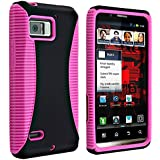 Insten® Hybrid Case Compatible with Motorola Droid Bionic XT875, Hot Pink TPU / Black Hard