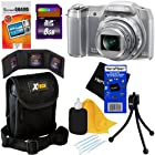 Olympus Stylus SZ-16 iHS Digital Camera with 24x Optical Zoom, Full HD Video and 3-Inch LCD (Silver) + 7pc Bundle 8GB Accessory Kit w/ HeroFiber® Ultra Gentle Cleaning Cloth