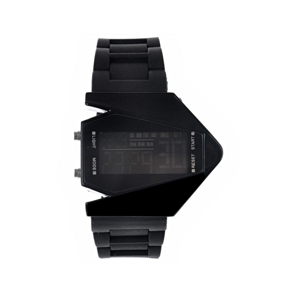 Pixnor Flugzeug geformt Unisex wasserdicht LED Digital Sportuhr mit Datum /Alarm Stoppuhr in einem roten Paket-Box (schwarz) günstig