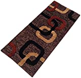 Yellow Weaves Polyester Geometric Bedside Runner- Brown, 22 Inches X55 Inches (WI342)