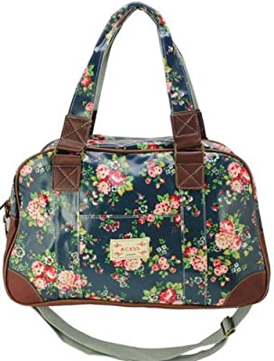 LADIES WOMENS DESIGNER STYLE OIL CLOTH FLORAL WEEKEND SHOULDER HANDBAG BAG (Dark Blue)