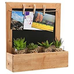Country Rustic Wood Wall Mounted Erasable Chalkboard / Small Decorative Hanging Storage Shelf Rack