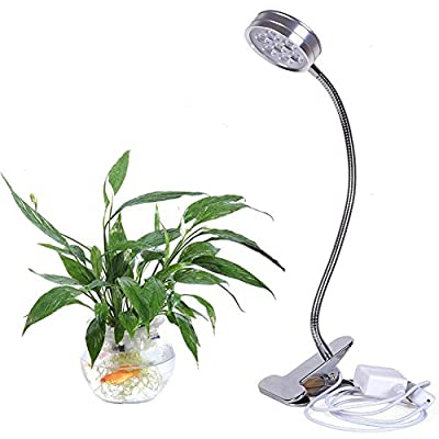LED Lights Grow Lights,7W Desk Lamp Clip Flexible Neck 360 Degree Plant LED Grow Light Plant Bulbs for Indoor Garden Greenhouse,Hydroponic and Family Balcony Full Spectrum Grow LED Lamps