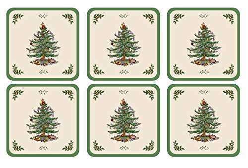 Spode Christmas Tree Hardback Coasters, Set of 6 Spode Christmas Tree Cloth