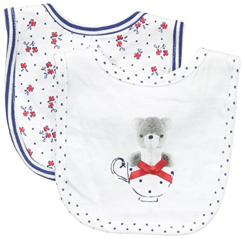ABSORBA Baby-Girls Newborn Tea Party 2 Pack Bib Set, Blue/White, One Size