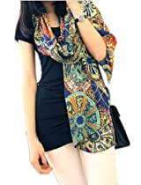 Demarkt Vintage Pattern Long Soft Women Shawl Elegant Scarf Scarves Wraps (Blue)