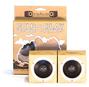 OrigAudio Fold n Play Recycled Speakers for iPod, iPhone, and Any Standard 3.5mm Jack (Canvas) (Discontinued by Manufacturer)