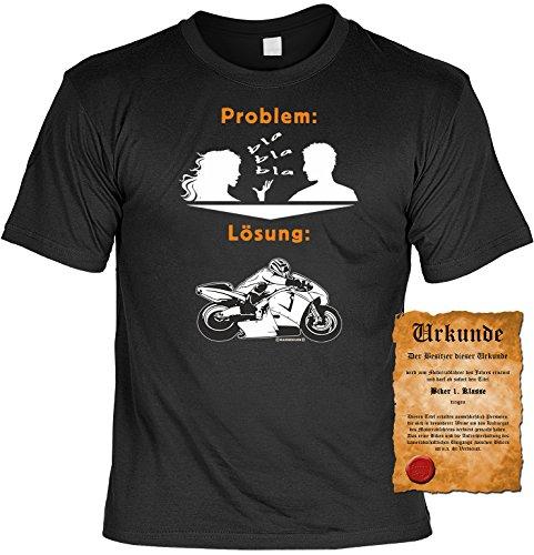 Camicia biker-Bici e come soluzione-T-shirt per vera Kerle con possesso Urkunde nero XXXXXL