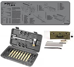 Wheeler Hammer and Pin Punch Set 951900 + Ultimate Arms Gear AR15 AR-15 M4 M16 .308 Rifle Bench Grey Gray Schematics Mat + Deluxe Rifle Cleaning Kit