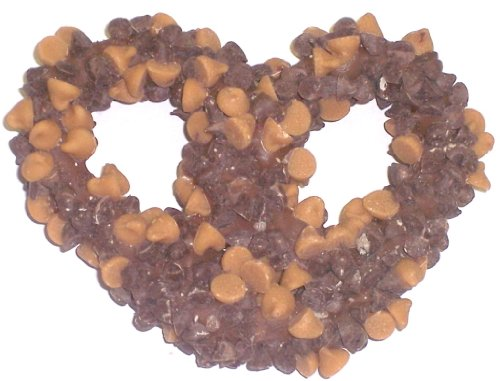 Scott's Cakes 1 lb. Milk Chocolate Covered Pretzels with Chocolate Chips & Peanut Butter Chips in a Small Fruit Tin