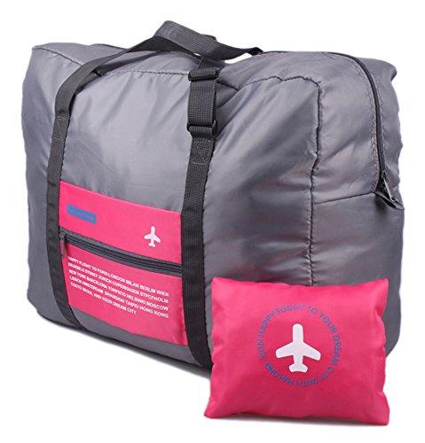 Unisex impermeabile Borsa di Stoccaggio di Viaggio Sacchetto di Immagazzinaggio Pieghevole Nylon Imballaggio Organizzatore con grande capacità Accessori viaggio - Rosa rossa