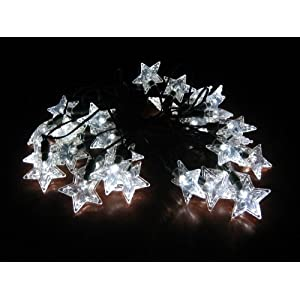 Smart Solar 3730WR30 Solar Star Light String, 30  White LEDs with Star Covers