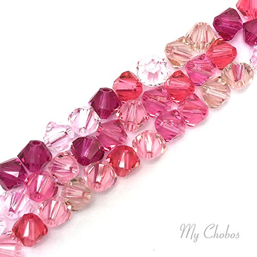 50 pcs Swarovski 5328 / 5301 6mm Crystal Xilion Bicone Beads PINK Colors Mix **FREE Shipping from Mychobos (Crystal-Wholesale)** (Swarovski Bead Mix compare prices)