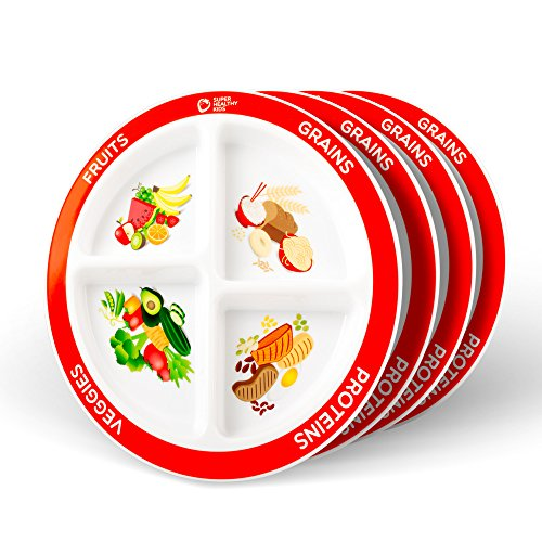 MyPlate Divided Portion Plate, 4 Pack, 4 Fun & Balanced Sections for Picky Eaters