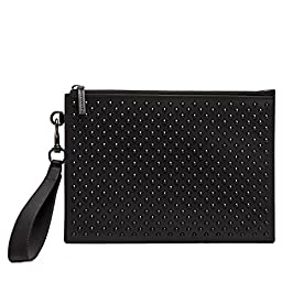 Gucci Leather Studded Pouch 337307, Black Leather Wristlet Clutch