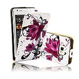 BestCool Wei� PU Flip Leder Tasche H�lle Lederh�lle f�r Samsung Galaxy S2 GT-i9100 mit Lila Winde Wicker Ink Kreis Etui Skin Flipcase Schutzh�lle Ledertasche Cover Case