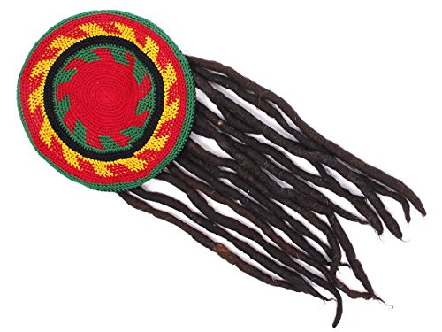 Rasta Mütze mit angenähten Dreadlocks Reggaemütze
