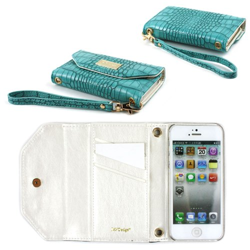 Best Price JAVOedge Croc Clutch Wallet Case with Wristlet for the Apple iPhone 5s, iPhone 5 (Turquoise)