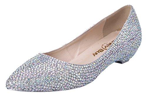 Honeystore Women'S Cone Heel Bridal Crystal Sheepskin Flats Silver 4.5 B(M) Us