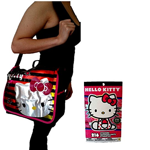 1-Large-Licensed-Hello-Kitty-Messenger-School-College-Purse-for-Teens-and-Students-and-Hello-Kitty-Stickers-Collectible-Collection