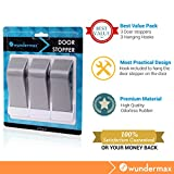Wundermax Decorative Door Stopper With Free Bonus Holders, Door Stop Works on All Floor Surfaces, Premium Rubber Door Stops, The Original (3, gray)