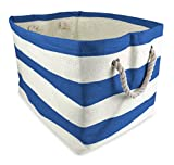 """DII Home Essentials Woven Paper, Collapsible, Convenient Storage Bin For Office, Bedroom, Closet, Toys, Laundry - Large (17"""" Long x 12"""" Wide x 12.5"""" High) in Blueberry Rugby Stripe"""