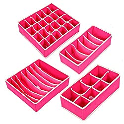Styleys Set of 4 Foldable Storage Box Drawer Dividers, Non-Smell Innerwear Storage Boxes, Closet Organizers, Under Bed Organizer for Clothing, Shoes, Underwear, Bra, Socks, etc