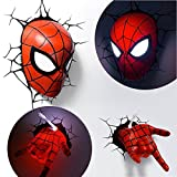 OZSHOP Marvel Avengers Spider Man Mask Head Face+ Hand 3D Deco Wall LED Night Light (Color: As photo show, Tamaño: One Size)