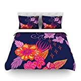 "Kess InHouse Anneline Sophia ""Tropical Paradise"" Purple Floral King Cotton Duvet Cover, 104 by 88-Inch"
