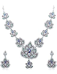 Sukkhi Fashionable Rhodium Plated AD Necklace Set For Women