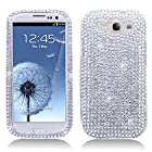 Importer520 Rhinestone Crystal Bling Diamond Hard Case Cover for Cricket/MetroPCS/Verizon/Sprint/AT&T/T-Mobile Samsung Galaxy Galaxy S3 SIII I9300 (White and Silver)