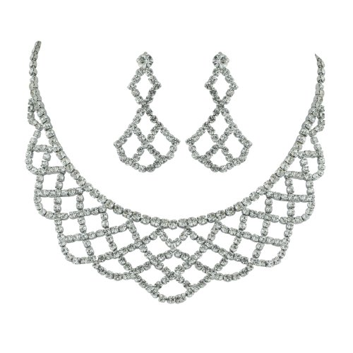 Brass Rhodium 12 inches with 3 inches extension Necklace Earrings Colorless Crystal soft links Drape Pattern