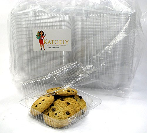 Katgely Extra Clear Square Cookie Container, Cake Slice Container, Pack of 160 (Pack of 160) (Cake Slice Container compare prices)