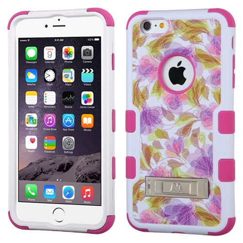 "MEGATRONIC Hot Pink Colorful Dancing Flowers Design Tough Hybrid Protector With Metal Stand 2 piece snap on Cover Skin Case for Apple Iphone 6 Plus 5.5 5.5"" W/ Free Stylus"