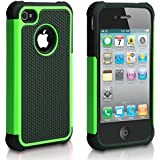 iPhone 4S Case,ULAK Shock Proof Hybrid Silicone Hard Protective Case Cover for Apple iPhone 4 4s with Screen Protector (Green)