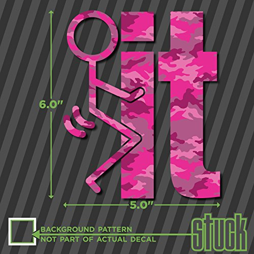 F#ck it stick figure PINK CAMO - 5.0