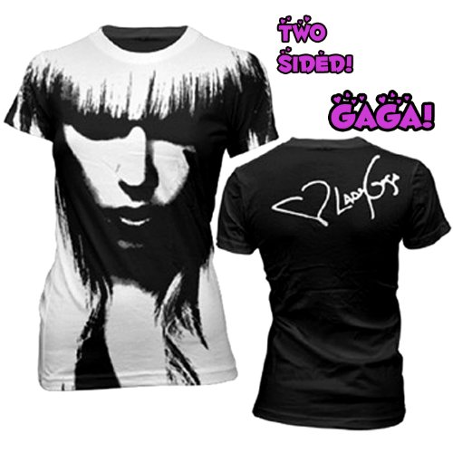 Lady Gaga All Over Face Juniors T-shirt-large