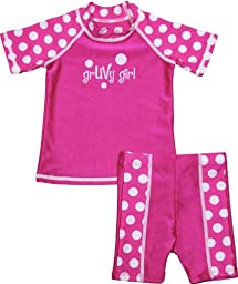 grUVywear UV Protective (UPF 50+) 2 Piece Funky Fuchsia Dot Set Baby Girl Swimsuit-12-18M