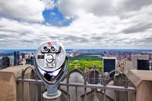 Coin Operated Telescope On Top Of Rockefeller Center With View Over Central Park, Manhattan, New York City, New York, Usa Giclee Art Print Poster Or Canvas