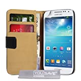 Yousave Accessories Genuine Leather Wallet Cover Case for Samsung Galaxy S4 Mini - Blackby Yousave Accessories