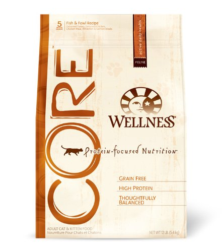 Wellness CORE Grain-Free, Fish and Fowl Adult Cat and Kitten Food, 12-Pound Bag